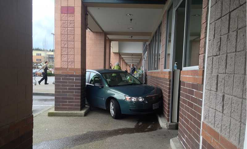 by: WEST LINN POLICE - Lois Oberdorf mistakenly hit the gas instead of the brake of his car and crashed into the front of Safeway.