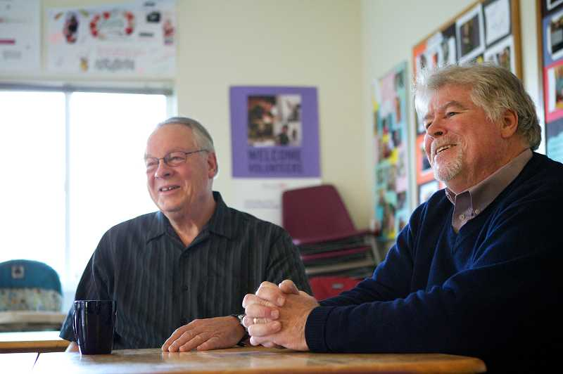 by: TIMES PHOTO: JAIME VALDEZ - Ken Iverson and Jack Schwab, right, director of the Good Neighbor Center in Tigard, are planning a special evening of storytelling, March 9. Everyone has a story, Schwab said. The event will be a fundraiser for the Tigard-based homeless shelter.