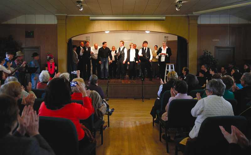 by: TIMES PHOTO: JONATHAN HOUSE - Cast members of the Tualatin Historical Societys play You Are There! take a bow after covering the incorporation of Tualatin as a city in 1913.