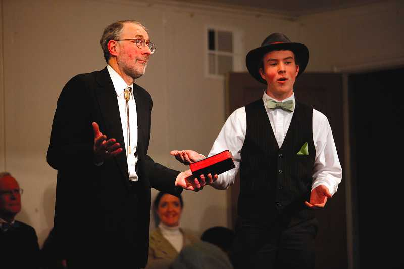 by: TIMES PHOTO: JONATHAN HOUSE - Richard Hager, left, playing Rev. Henry Blake, and Caleb Rygh, playing former County Commissioner John Nyberg, argue the merits of incorporating Tualatin into a city for the purpose of legalizing alcohol sales.