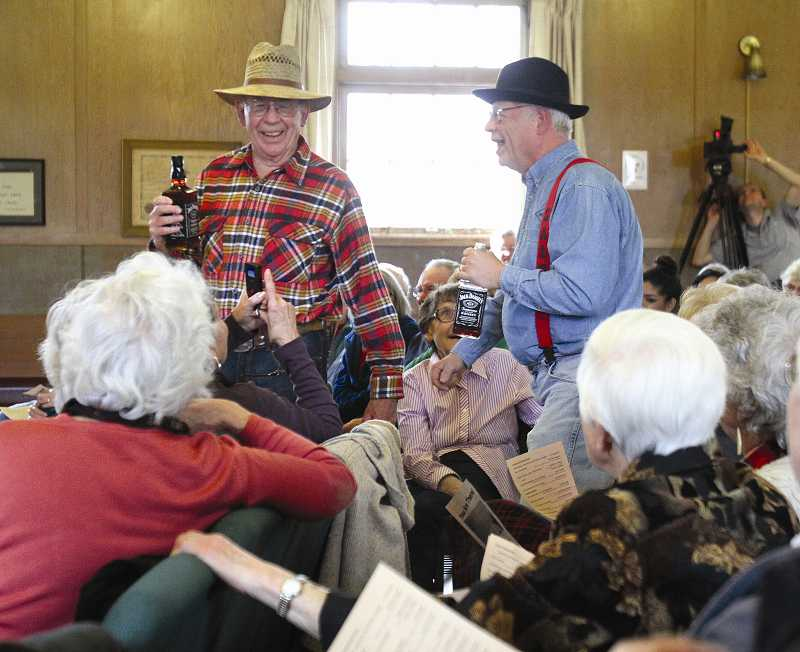 by: TIMES PHOTO: JONATHAN HOUSE - Norm Parker, left, and Lloyd Gooding play local drunks in the Tualatin Historical Societys celebration of the citys beginning.