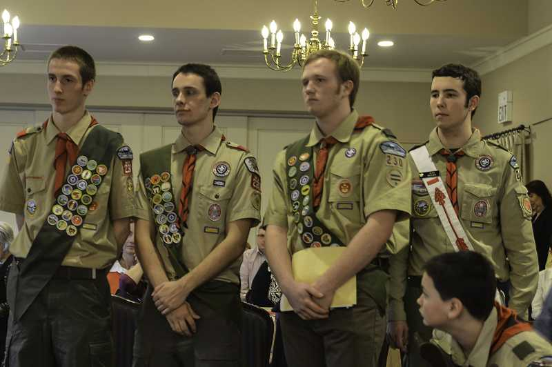 by: SUBMITTED PHOTO -  From left are Daniel Verburg, Karsten Andersen, Andrew Wrenn and Sean Maguire, who were recently honored at a Court of Honor for earning the rank of Eagle Scout.