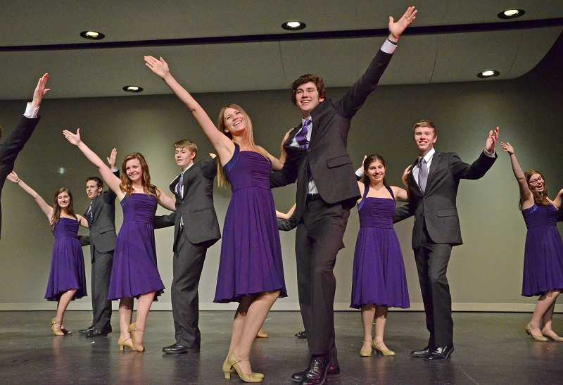 by: REVIEW PHOTOS:  - The Windjammers open the variety show, 'Call Us Old Fashioned' Feb. 28 at Lake Oswego High School. Pictured from left are Anna Ketterling, Kurt Schimmelbusch, Molly Agan, Jase Jacobson, Libby Johnson, Sam Schelonka, Naomi Porter, Clay Dirkse and Sheridan Foy.