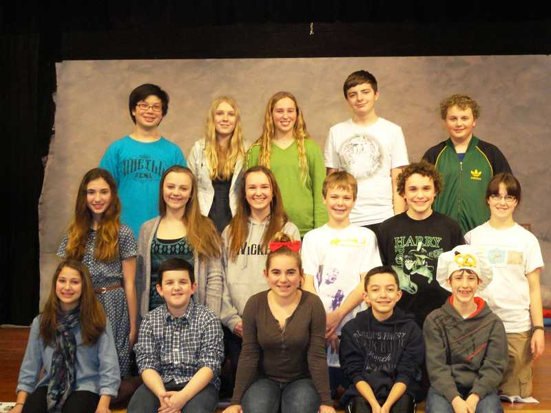 by: SUBMITTED PHOTO - 'Snow Angel' opens Feb. 28 at Lakeridge Junior High. The cast includes from left, top row, Eliott Wells, Jenna Wilson, Carly Wood, Anthony Varga, Ayden Korte; middle row, Lauren Monk, Sophia Petry, Chloe Rust, Matthew Barouh, Jevin Johnson, Kate Scwartz and bottom row, Yelena Friedman, Roy Raviv, Gaby Rouhler, Cole Sanchez and Spencer Hopkins.