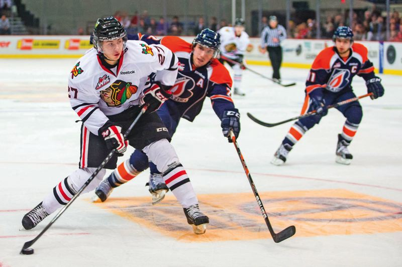 by: BRYAN HEIM/PORTLAND WINTERHAWKS - Taylor Leier, second-year left wing, is one of the Hawks' top scorers.