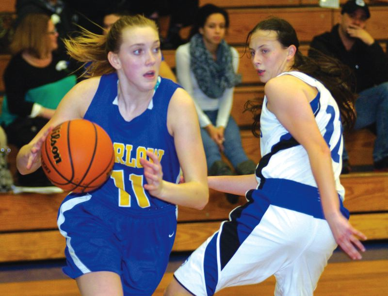 by: THE OUTLOOK: DAVID BALL - Barlows Haylee Hutzler spins to the basket in front of Greshams Amber Peschka during the Bruins 27-22 win Wednesday night.