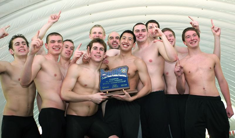 by: MILES VANCE - HERE COME THE CHAMPS - The Sunset boys swim team won its third straight state title in record-breaking fashion on Saturday, including (from left) Jordan Hurwitz, Jonathan Zoucha, Cameron Stitt, Cole Hurwitz, Tristan Furnary (back), coach Adam Farber, Kasey Kwong, Josh Noll, Calder Dorn, Braden Esping and Jack Callahan. Not pictured, Blake Hulstrom.