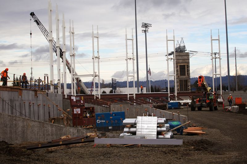 by: TRIBUNE PHOTOS: JAMIE VALDEZ - Construction of a new ballpark is moving along at the Gordon Faber Recreation Complex. The ballpark will be home field for the Hillsboro Hops.
