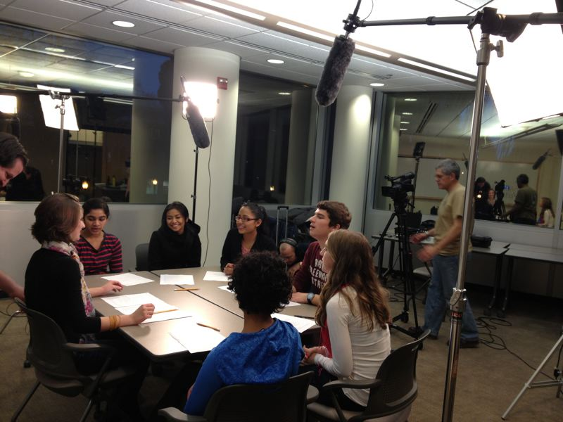 by: CONTRIBUTED PICTURE: CITY OF HILLSBORO. - Youth Advisory Council members record a public service announcement with Tualatin Valley Community TV.