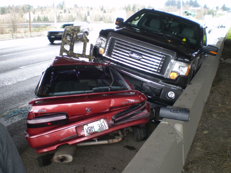 by: OREGON STATE POLICE - Remarably, no one was hurt in his accident on I-5.