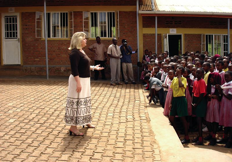 Trabosh speaks at Kigali Parents Primary School  in Rwanda (May 2006).
