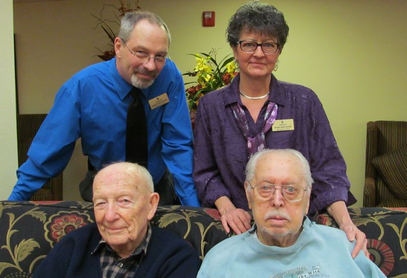 by: PHOTO BY ELLEN SPITALERI - Kurt and Myra Mathews, co-managers of Somerset Lodge, pose with resident veterans Phil Shriver, left, and George Imhoff.
