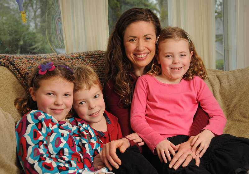 by: VERN UYETAKE -  Amy Sandie and her children, from left, Mara, Liam and Elsa, are ambassadors for March of Dimes.