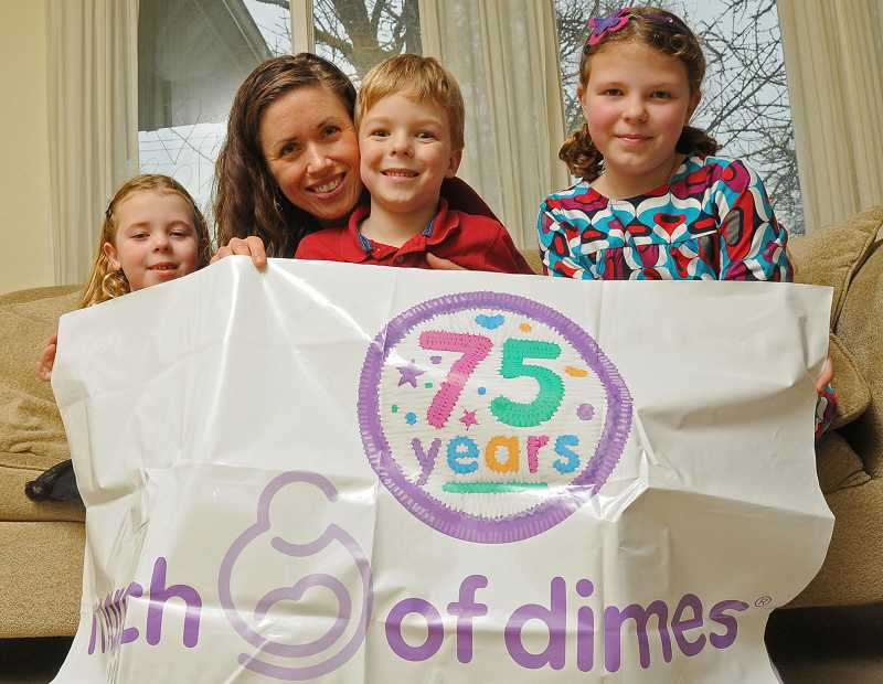 by: VERN UYETAKE - From left, Elsa, Amy, Liam and Mara Sandie show their March of Dimes pride. They are participating in fundraising for March of Dimes.