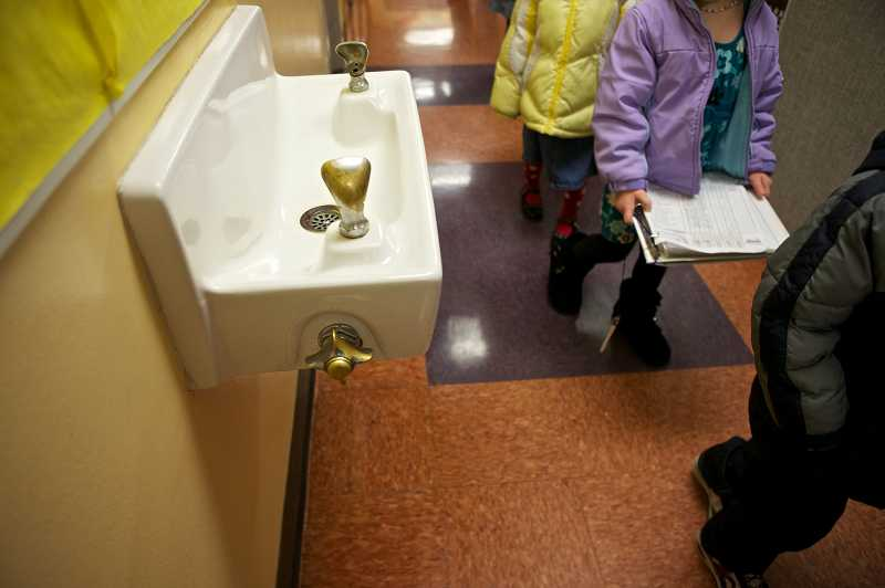 by: TIMES PHOTO: JAIMES VALDEZ - Students at Templeton Elementary School wont be using the water fountain for a drink at lunch. The school has installed water coolers and bottled water dispensers after elevated lead levels were found in the schools water supply.