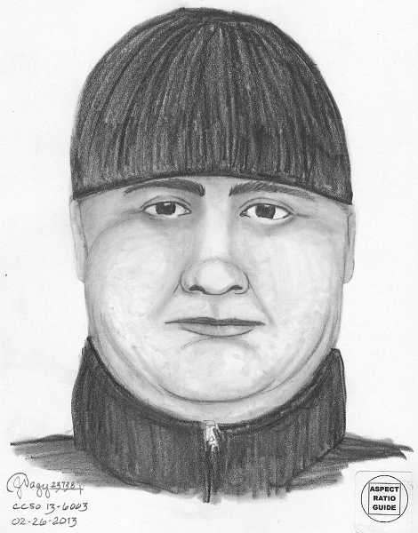 by: CLACKAMAS COUNTY SHERIFF'S OFFICE - This is a sketch of the suspect in a Lake Oswego-area burglary on Monday.