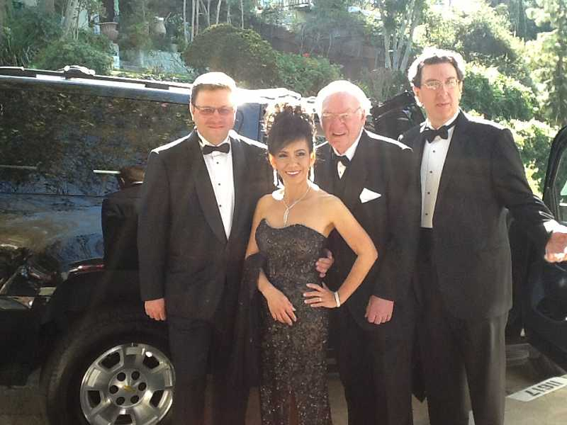 by: CONTRIBUTED PHOTO  - Ron Bartlett, nominated for an Oscar for 'Life of Pi,' accompanies his wife, Nattee, his father, Jim, a Beaverton resident, and his brother, David, before their limo ride to the 85th annual Academy Awards ceremony on Sunday in Hollywood, Calif.