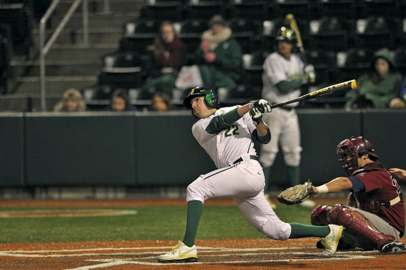 by: ERIC EVANS/UNIVERSITY OF OREGON - J.J. Altobelli,  a senior, has starred offensively and defensively for the Oregon Ducks. This season, he is  off to a .429 start at the plate, with eight runs scored in eight games  for 7-1 UO.