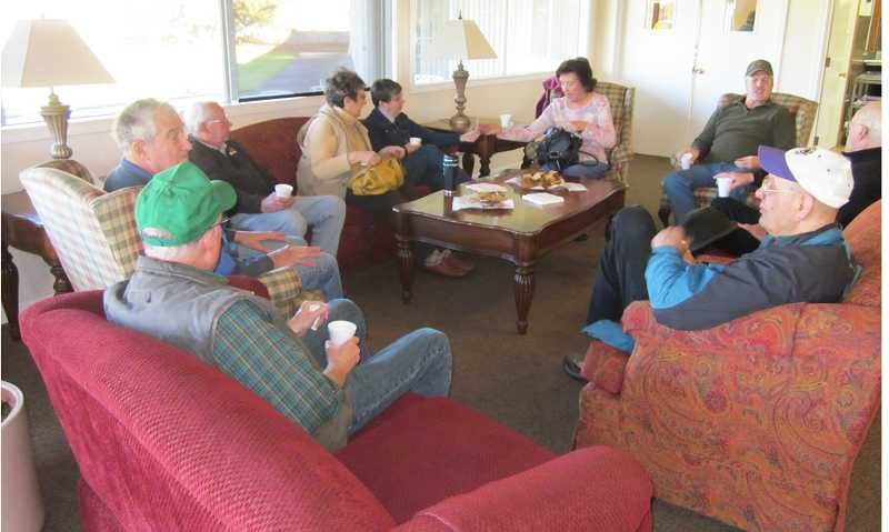 by: BARBARA SHERMAN - COFFEE'S ALWAYS ON - King City residents join non-residents every morning for coffee in the King City Clubhouse living room.