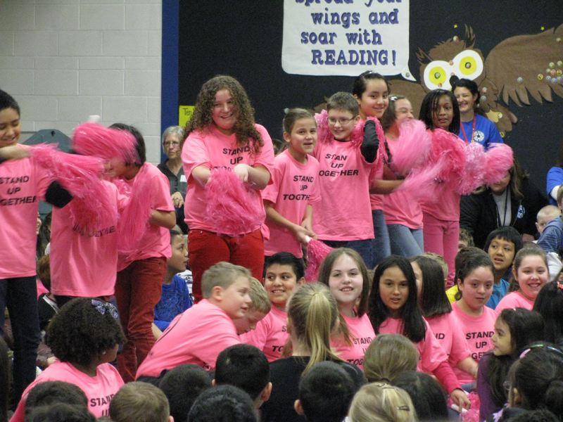 by: OUTLOOK PHOTO: KRIS ANDERSON - Choir students at North Gresham Elementary School surprise the rest of the school with a flash mob to Katy Perry's 'Firework' song.