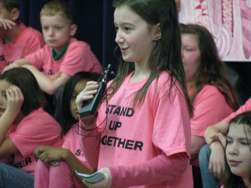 by: OUTLOOK PHOTO: KRIS ANDERSON - North Gresham students are participating in a week of anti-bullying activities. They kicked the week off with a high-spirited assembly.