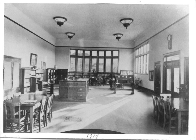 by: CONTRIBUTED PHOTO: GRESHAM HISTORICAL SOCIETY - This 1914 photo shows the interior of the Carnegie Library when it was one year old.