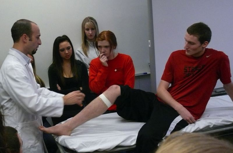 by: PHOTO COURTESY: NORTH CLACKAMAS SCHOOL DISTRICT - Patrick Iaboni, a health-services instructor at the Sabin-Schellenberg Center, leads a class in nursing at the largest high school career-training facility in the state.