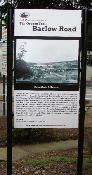 by: PHOTO COURTESY: NICK DIERCKMAN - One of six recently installed Oregon Trail interpretive signs is located near the corner of Holcomb Boulevard and Redland Road.