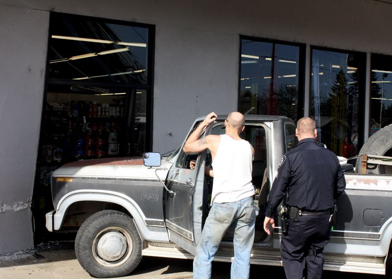 by: PAMPLIN MEDIA GROUP: PEGGY SAVAGE - A pickup crashed into the Molalla True Value store on Grange Avenue Monday morning when the truck's brakes failed. No one was injured in the crash.