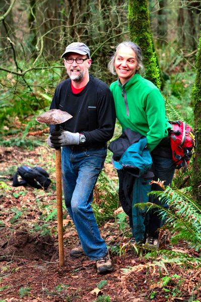by: DAVID F. ASHTON - Woodstock's Randall Magahay and Florence Dezeix continue to volunteer where they first met 15 years ago - working on the Powell Butte Trail.
