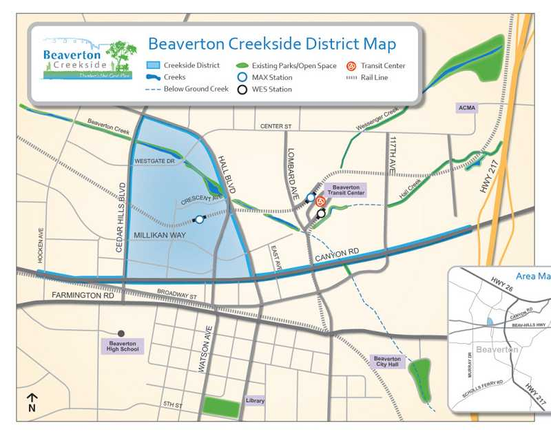 by: CITY OF BEAVERTON - Beaverton Creekside District Map