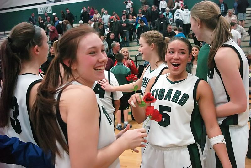 by: DAN BROOD - ROSEY SMILES -- Tigard's (from left), Stephanie King, Faithe Wantland, Courtney Roshak, Lexi Carter and Elise Conroy celebrate following the Tigers' state playoff victory over Jesuit on Saturday. Tigard will face Clackamas at the Class 6A state tourney today.