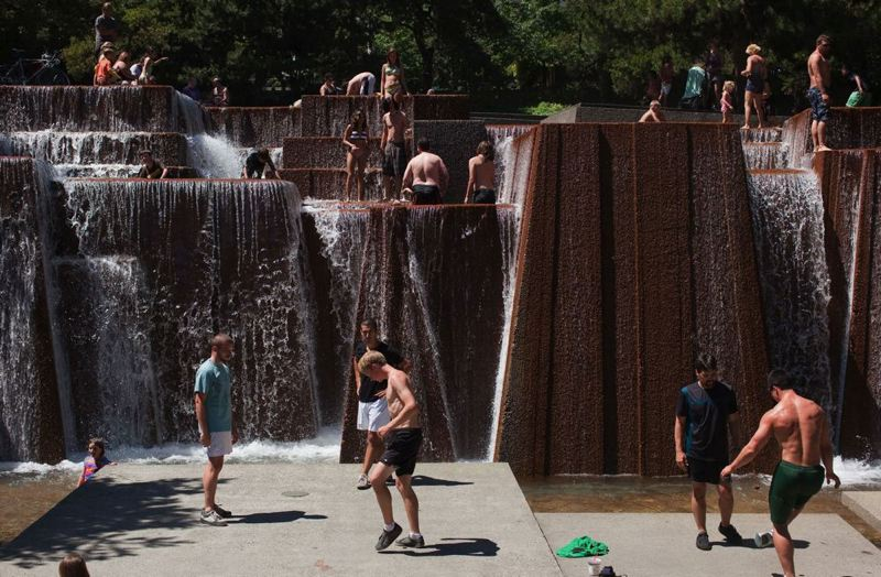 by: TRIBUNE FILE PHOTO - Portland's Keller Fountain Plaza designed by landscape architect Lawrence Halprin has become a cool spot during warm weather. The fountain and three others designed by Halprin were named this week to the National Register of Historic Places.