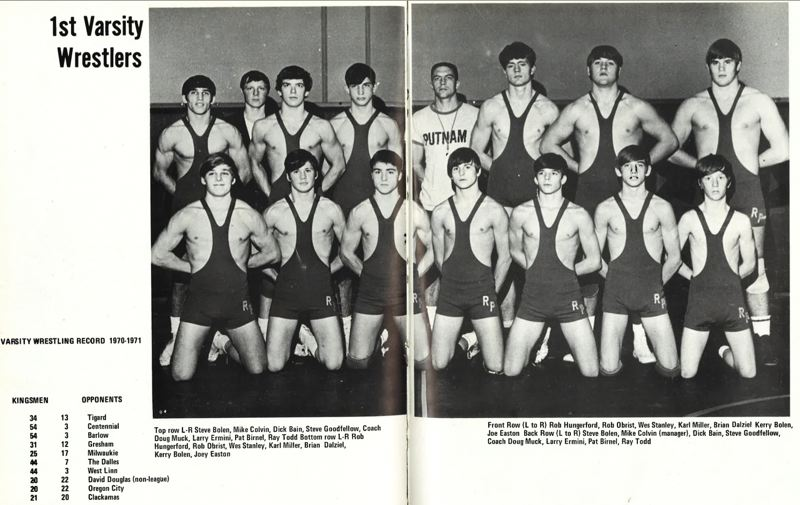 by: SUBMITTED PHOTO  - Photo taken from a Rex Putnam High School yearbook sports a team picture and team dual scores from the 1970-71 high school season. Doug Muck, who coached Putnam to the state team title in 1971, will be inducted into the National High School Wrestling Hall of Fame on April 6. Tickets for the induction ceremonies may be purchased through Putnam wrestling coach Rob Hungerford through next Wednesday, March 20.