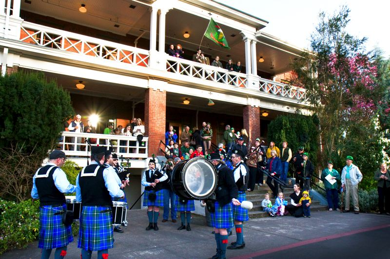 by: CONTRIBUTED PHOTO - Pipers and drummers rove the grounds every year for Edgefields St. Patricks Day Celebration.