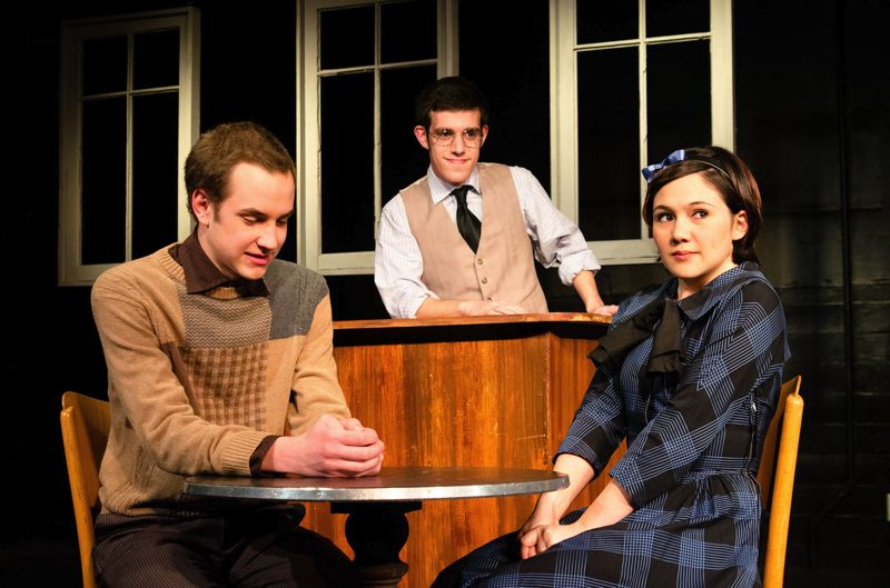 by: COURTESY PHOTO: PACIFIC UNIVERSITY - (Left to right) Olin Blackmore, Michael Johnson and Kailea Saplan bring ordinary characters to life in Thornton Wilders Our Town.