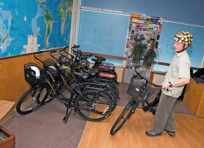 by: CHASE ALLGOOD - Pacifics free bike-share program helps cut greenhouse gases every time someone borrows a bike instead of driving a car. Pacific students, staff, faculty and their guests can borrow bikes for 24 hours, along with helmets and lights.
