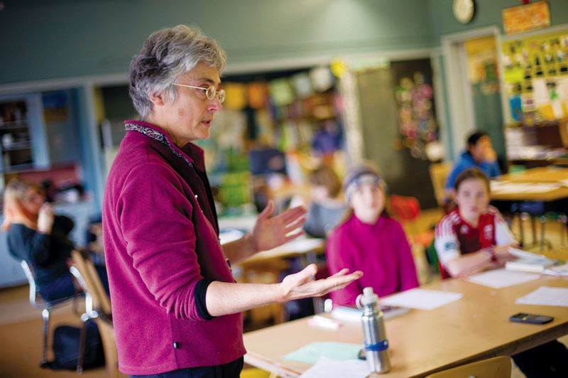by: CHRISTOPHER ONSTOTT - Marine toxicologist Riki Ott, known for taking action in the aftermath of the Exxon Valdez oil spill, lectures on the importance of activism to Sunnyside Environmental School students during a teach-in.