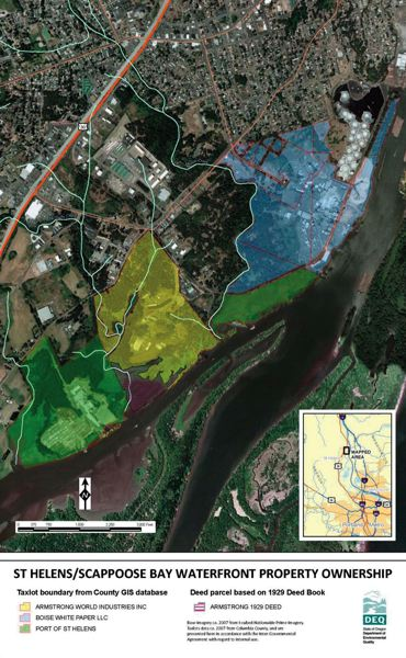 by: MAP COURTESY OF OREGON DEPARTMENT OF ENVIRONMENTAL QUALITY  - St Helens Scappoose Bay Waterfront Property Ownership