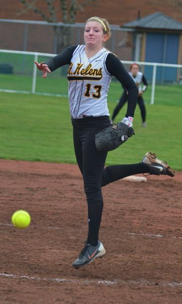 by: JOHN BREWINGTON - St. Helens sophomore pitcher Mariah Mulcahy threw a four-hit shut-out in the season opener against 6A McNary on Monday. She also knocked in the only two runs of the game.
