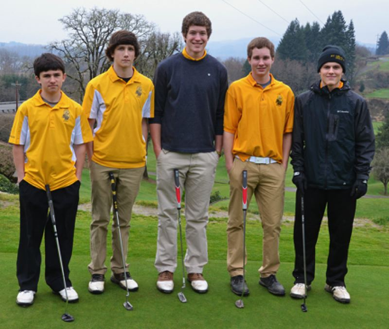 by: JOHN BREWINGTON - Members of the St. Helens High golf team teeing off Monday at Wildwood included: (from left) Michael Hewlett, Jacob Roxey, Nathan Hunter, Eric Aldridge, and Cody Teyema. The team finished behind Sherwood and ahead of five other NWOC teams on hand.