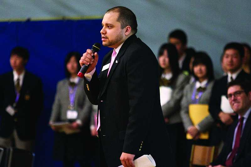 by: TIMES PHOTO: JAIME VALDEZ - Daniel Vazquez, who is Beaverton's cultural inclusion coordinator, speaks during an assembly at Cedar Park Middle School on Tuesday, where students from Ohtsuchi High School in Japan shared their tsunami experiences.