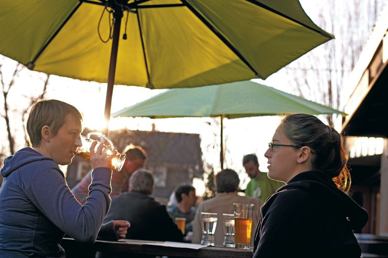 by: TRIBUNE PHOTOS: CHRISTOPHER ONSTOTT - Patrons enjoy an afternoon of hard cider, taking advantage of the spring trend of lighter and fruitier beverages, although hard cider usually associates with harvest season.
