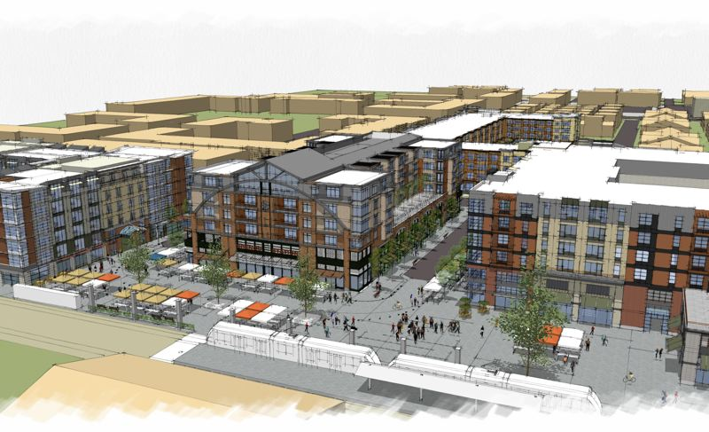 by: COURTESY IMAGE: HOLLAND PARTNERS - An artist's rendering of what the planned $120 million housing and commercial development at Orenco will look like when completed.