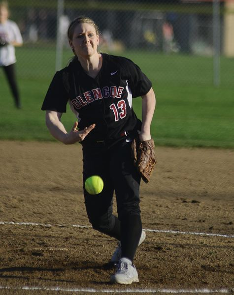 by: HILLSBORO TRIBUNE PHOTO: CHASE ALLGOOD - Glencoe senior Katie Sutherland-Finch, the reigning conference Pitcher of the Year, delivers a pitch during a scrimmage last week.