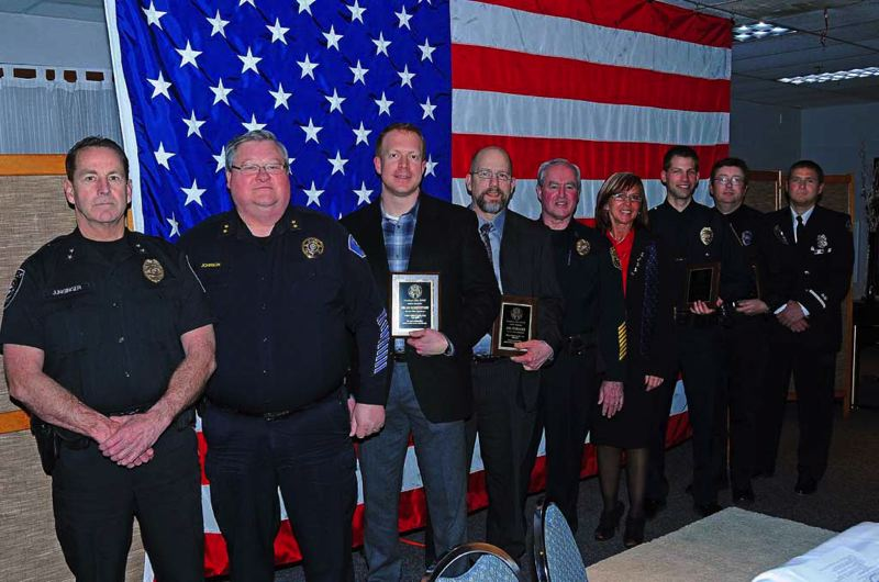by: CONTRIBUTED PHOTO: GRESHAM ELKS - Among the dignitaries honored by Gresham Elks 1805 Saturday, March 9, were local police officers and firefighters of the year, who were selected by members of their respective departments.