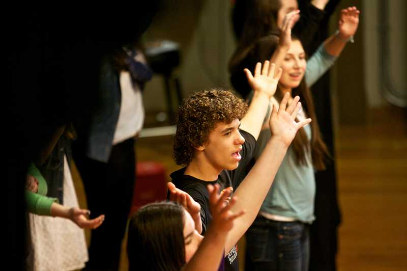 by: TIMES PHOTO: JAIME VALDEZ - Cody Grater, an eighth-grader at Cedar Park Middle School, rehearses for his school play, 'High School Musical Jr.,' on Tuesday. Grater was recognized during Monday's Beaverton School Board meeting for being named Oregon's top youth middle school volunteer.