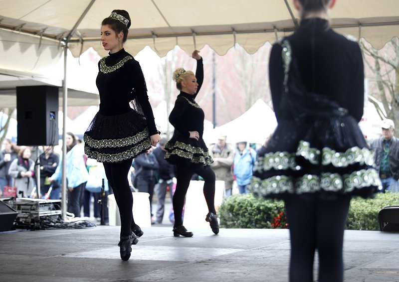 by: TIMES PHOTO: JONATHAN HOUSE - Dancers from the An Daire Academy of Irish Dance performed during Saturday's cold winter morning.