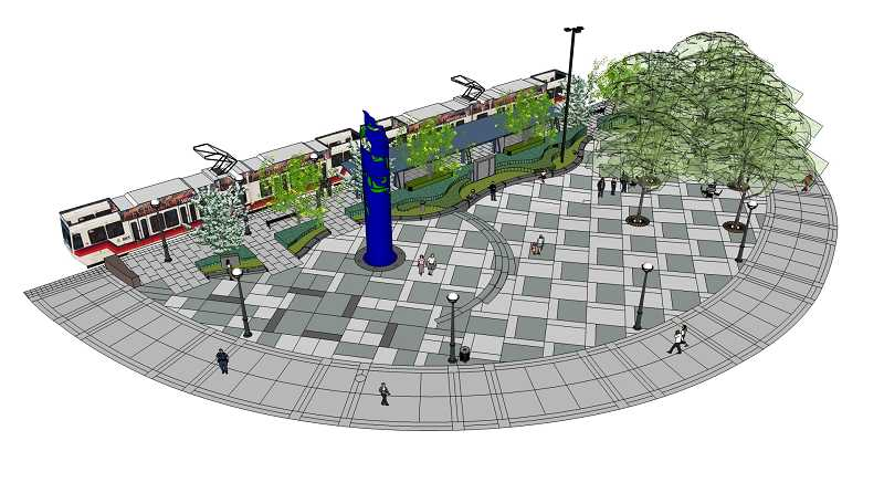 by: SUBMITTED ART - This rendering shows the future public plaza on the south side of the tracks at The Round at Beaverton Central.