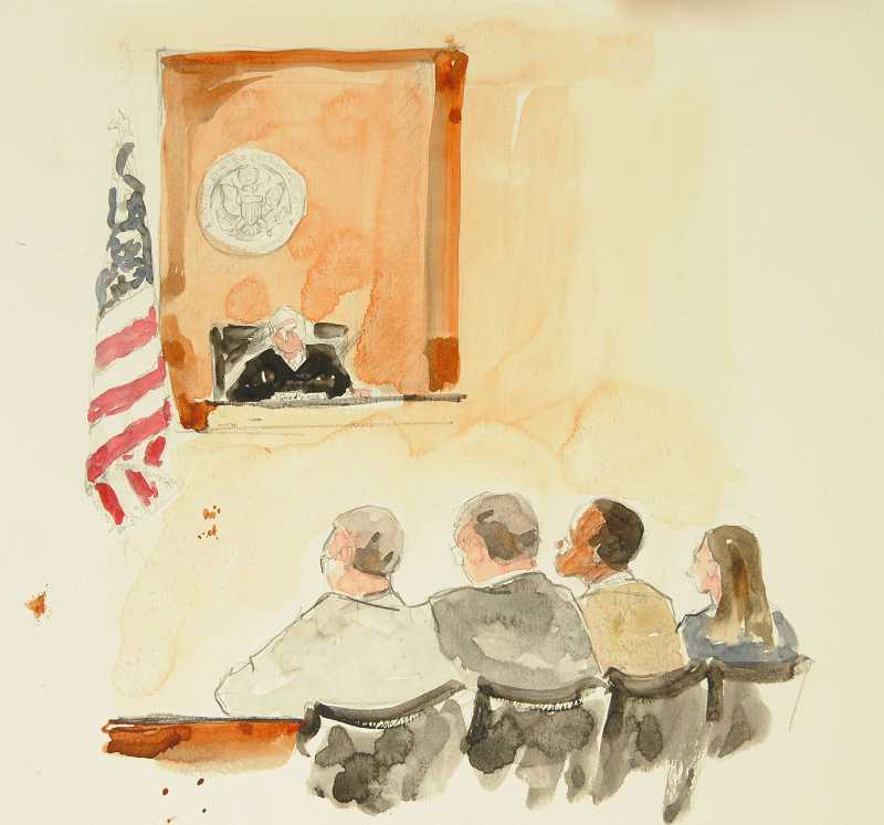 Deborah Marble's depiction of the scene when a federal court jury delivered a guilty verdict in the trial of Mohamed Mohamud was a familiar image in the news early this year.